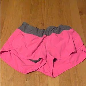 Bright pink lululemon speed short